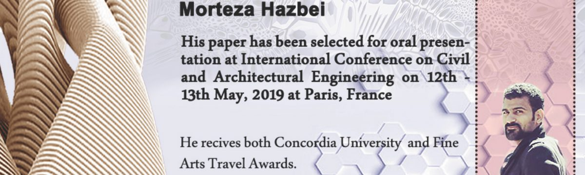 Morteza Hazbei, INDI PhD student, presents at the International Conference on Civil and Architectural Engineering